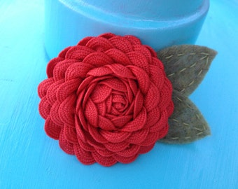 Red Rick Rack Flower Hair Clip -- by Antique Elephant