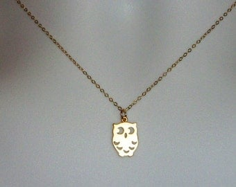 Owl Necklace - Gold Owl Necklace, gold, yellow, Gold filled Owl Necklace, Valentines Day, Bridesmaid Gifts, Weddings, Bridal