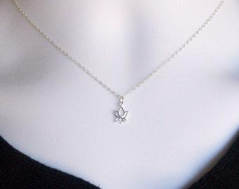 Silver Lotus Necklace - Tiny Silver Lotus Flower Necklace, Sterling Silver Necklace, bridesmaid gifts, grey, white, silver