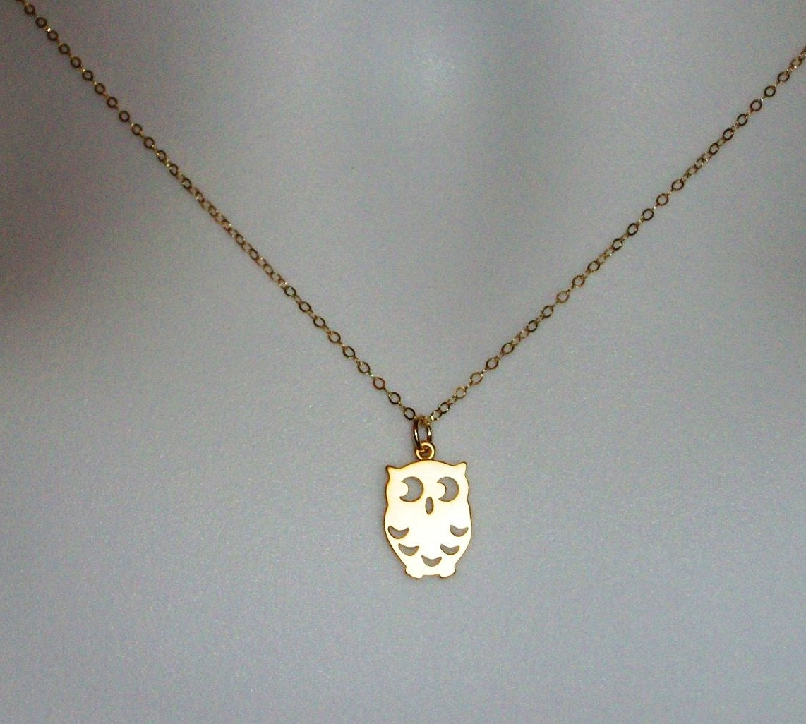 owl necklace gold owl necklace gold yellow gold filled