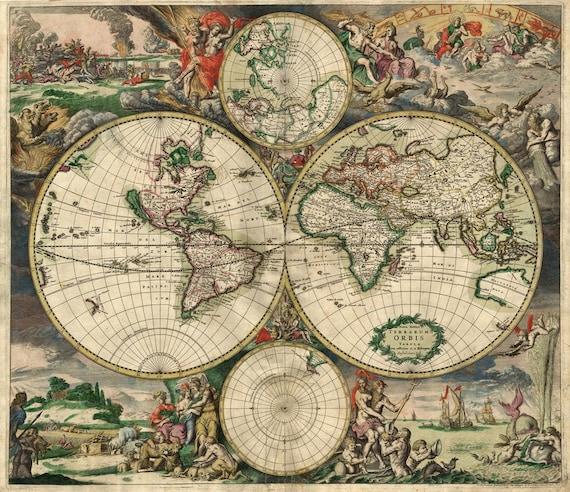 Large VINTAGE HISTORIC 1689 antique Old World Copper Plate Style Map Fine Art Print