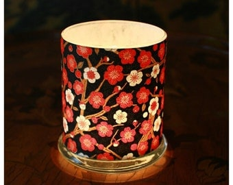 Luminary, Red and White Plum Blossoms on Black, Japanese Chiyogami Paper