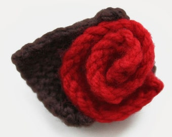 Hand Knitted Rose Brooch