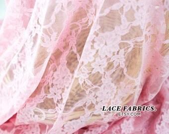Stretch Lace Fabric Candy PINK Wedding Bridal Lace Curtain Tulle Sheer Stretch Lace Fabric by the Yard - 1 Yard style 13331A