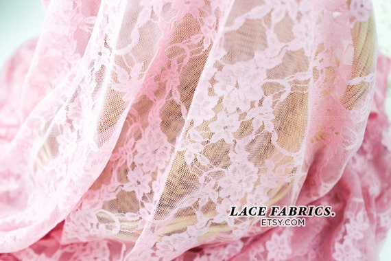 Stretch Lace Fabric Candy PINK Wedding Bridal Lace Curtain Tulle Sheer Stretch Lace Fabric by the Yard - 1 Yard style 13331A