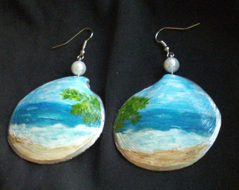 Blue Ocen Scene Earrings