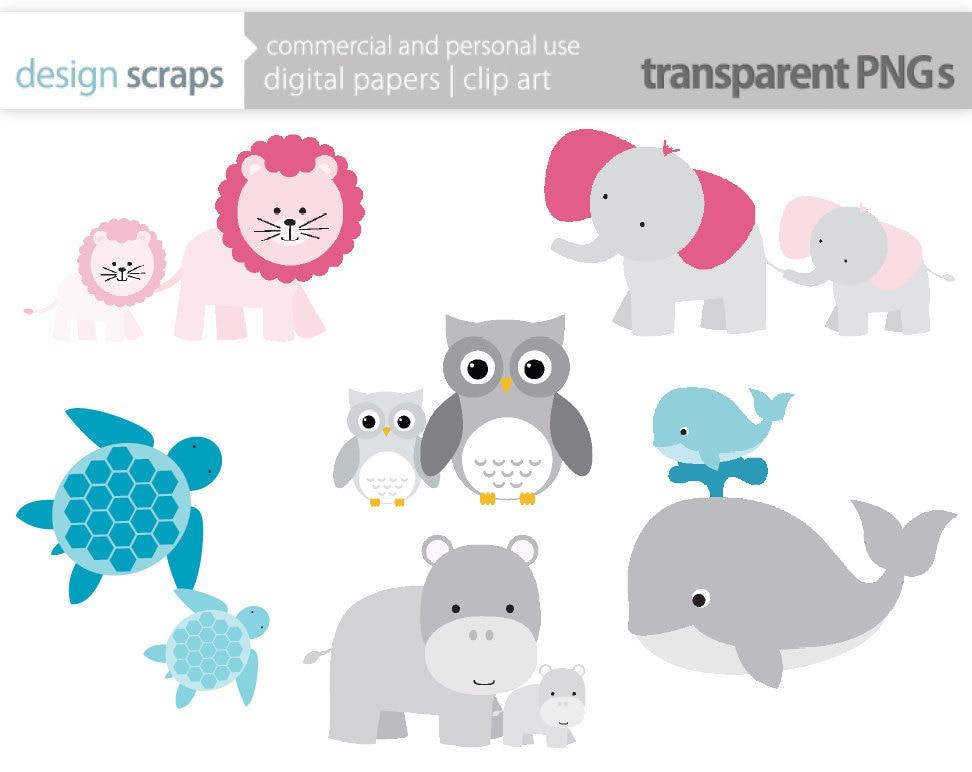 mom baby animal clip art graphics baby shower by designscraps