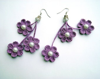 crochet earrings, crochet flower earrings, crochet jewelry, purple flowers
