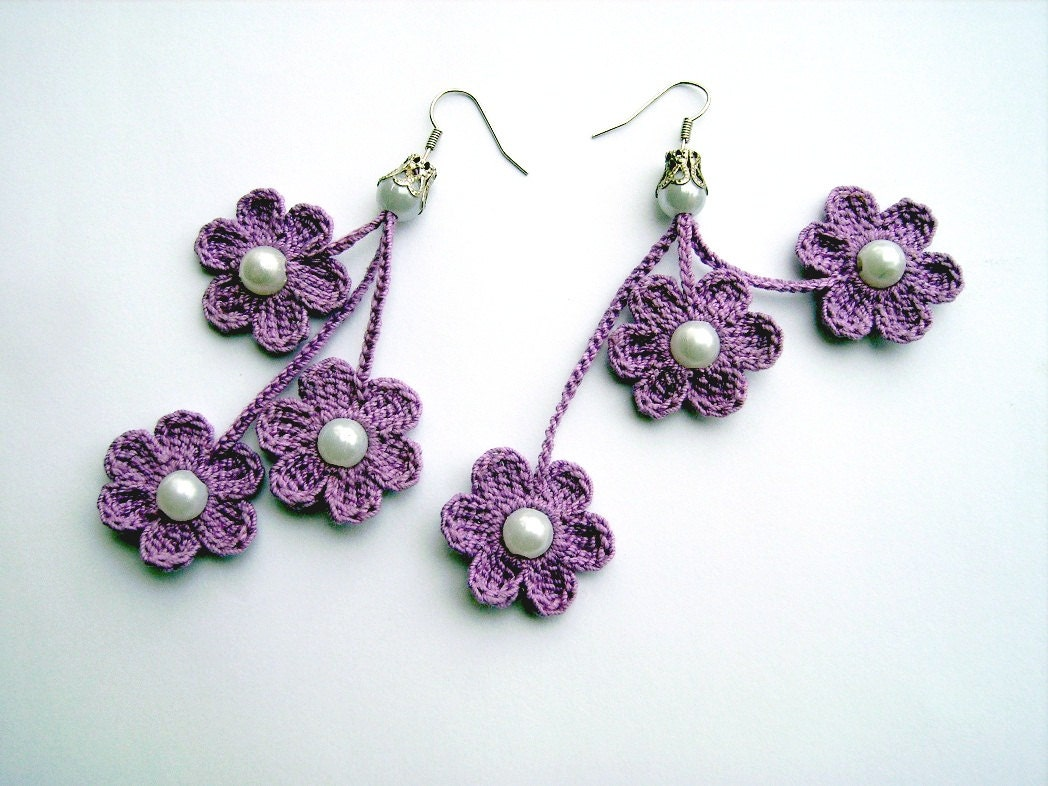 Crochet Earrings : crochet earrings crochet flower earrings crochet by JewelrySpace