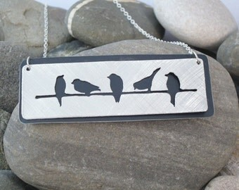 Birds on a wire aluminium necklace