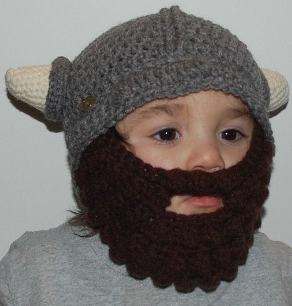 Items similar to Crochet Bearded Viking Hat Detachable Beard on Etsy