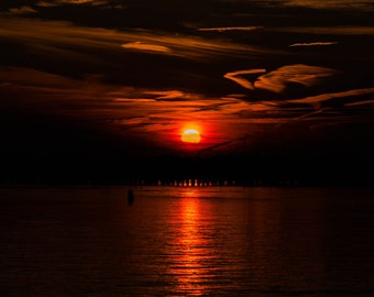 Incredible winter sunset from Ocean City, Maryland. - Fine Art Print or Wrapped Canvas