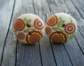 Red and Green Floral Print Wood Button Earrings