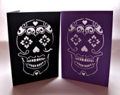 Sugar Skull Card - Papercut, Blank with Envelope - Choose Your Colours