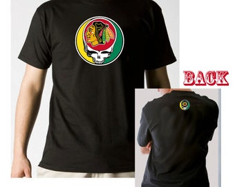 Grateful Dead Style Steal Your  Blackhawks Lot T-shirt 100% 6.1oz Soft Cotton Shakedown Street
