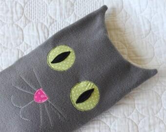 Hot water bottle cover / cozy / hottie animal- Grey cat