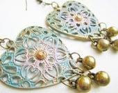 Bohemian  Romance Hand Painted Verdigris Earrings  OOAK  Patina Filigree  Hearts and Brass Beads Dangles Shabby Chic