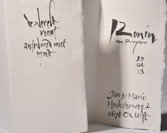 Handwritten cards as announcement of birth, marriage, or other occasions.