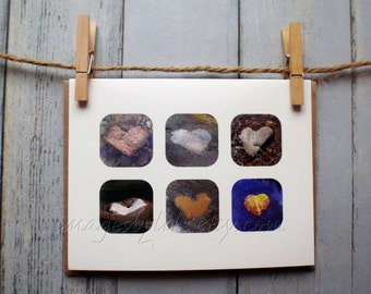 SALE Card, Water Heart Images. Blank-inside with envelope. River, puddle, island, creek. Get well, Anniversary.
