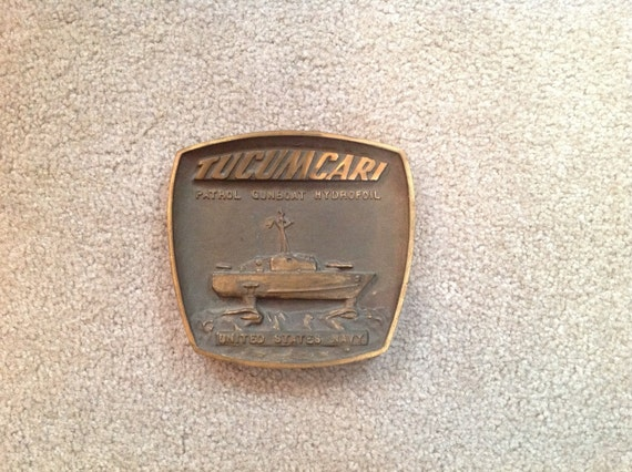 Ship Brass Plaque - USS Tucumcari (PGH-2) (1of 2 prototype boats contracted by the Navy)