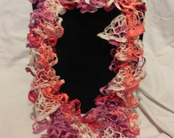 Pink/Lavender/Cream/Orange Varigated Knit Ruffle Scarf