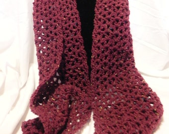 Burgundy Wine Crochet Scarf