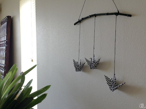 origami crane mobile wall decor home decor black and. Black Bedroom Furniture Sets. Home Design Ideas
