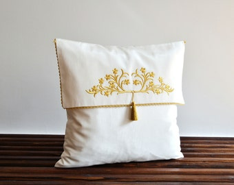 Applique Decorative Pillow Cover -18 x 18 Pillows - Silk Pillow Cover - Tribal Decorative Pillow - Applique Pillow