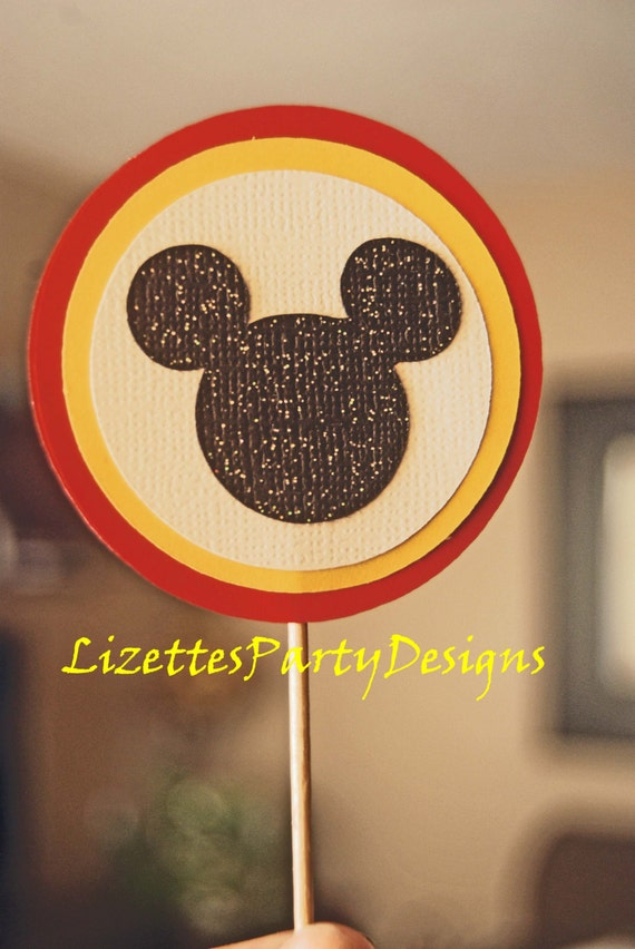 12  Large Mickey Mouse Cupcake toppers