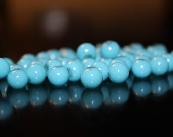 50 turquoise glass beads, baking painted round, 8mm, 0.8mm hole