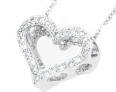 """Custom made Open Heart diamond pendant in 14K White gold with alternate heart and star design and 16"""" rolo chain 1.3mm thickness"""