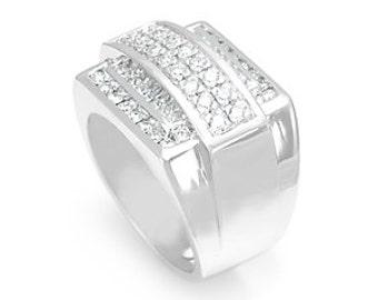 Men's 14K White Gold, Round Diamonds, Princess Cut Diamonds, Pave  Channel Setting,  Men's Ring