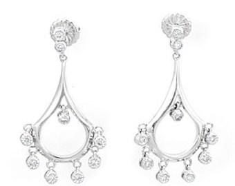 Chandelier Dangling Diamond Earrings, 14K white gold Ladies Earrings, Ladies Fine Jewelry
