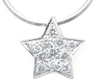Diamond Star Pendant, 14K White Gold Ladies Pendant, Ladies Fine Jewelry