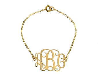 Bridesmaid gifts Monogram Bracelet - Personalized Monogram - 18K Gold Plated