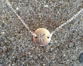 Monogram Necklace, Initial Necklace, Matte Silver