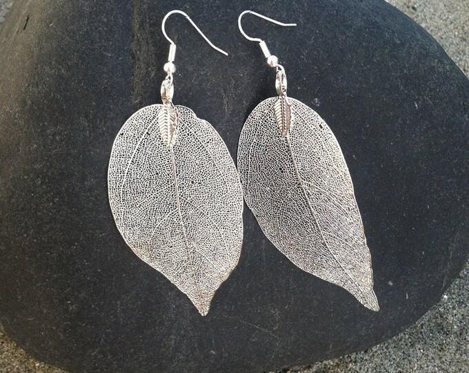 Real Leaf Earrings, Silver Dipped Leaf Earrings