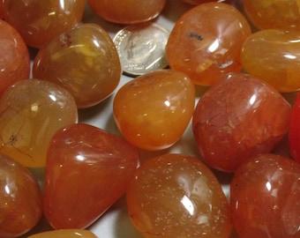 6 Carnelian Tumble Polished Stones - Item 17304