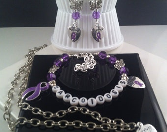 Sarcoidosis Necklace, Sarcoidosis Earrings, Sarcoidosis Bracelet Set, Letter Beads, Butterfly, Survivor, Purple Ribbon, Awareness Gift Set