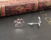 Polished Sterling Silver Paw Print Stud Earrings