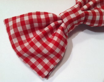 Red gingham bow tie clip men boys sizes by chamomileblu