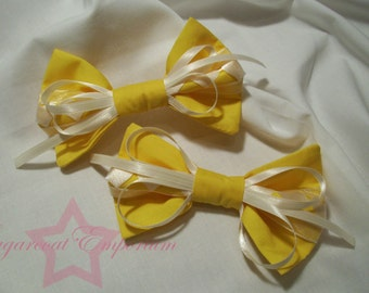 Yellow lolita bows with white ribbons (set of 2)