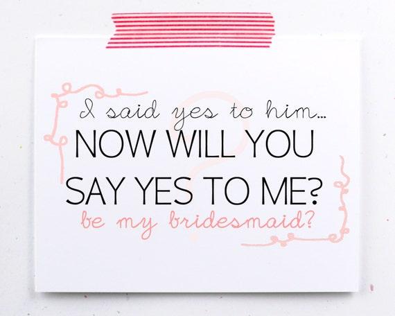 Asking Bridesmaid Greeting Card Bridal Party Be My By