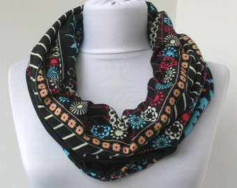 Black Floral Cotton Jersey Scarf - Infinity Scarf - Loop Scarf - Circle Scarf - Scarf Necklace - 359