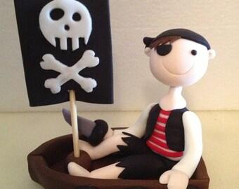 Pirate in Boat Cake Topper edible fondant icing