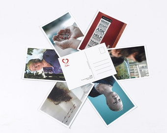 6 postcards with 6 photos. on the back logo and judgements handed down by the women. 10 x 15 cm