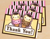 Ice Cream Thank You Cards Printable, DIY File