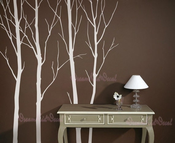 Wall Decalswhite Trees Decals Nature Wall Decals Vinyl Wall