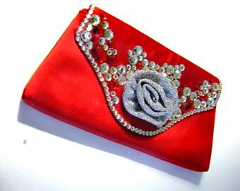 Red Satin Clutch Purse - Rhinestones & Glitter