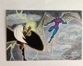 ACEO Original   Storm vs. Archangel Artist Sketch Card in Copics & Pencils (double size)